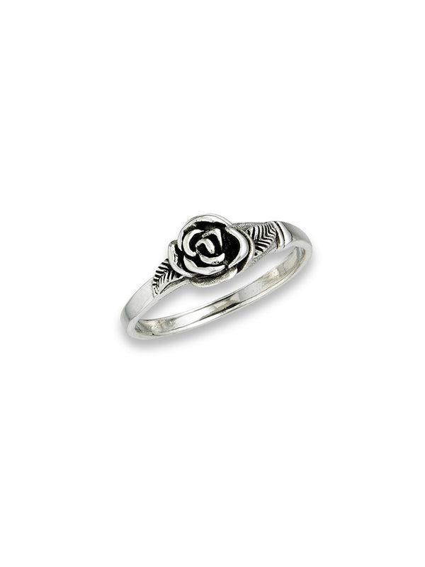Rose & Leaves Ring | Sterling Silver size 6 7 8 9 | Light Years Jewelry