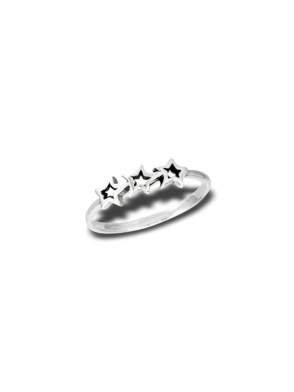 Three Silver Stars Ring | Sterling Silver Size 5 6 7 8 9 | Light Years