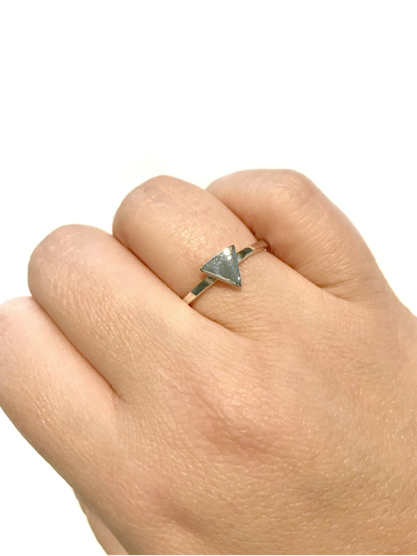 Polished Triangle Ring | Sterling Silver Size 5 6 7 8 9 10 | Light Years
