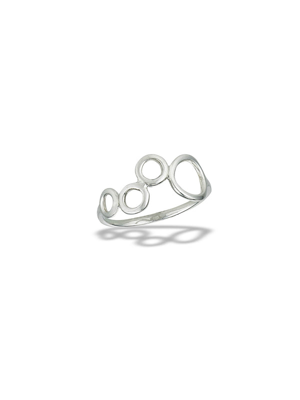 Modern Circles Ring | Sterling Silver Size 6 7 8 9 10 | Light Years