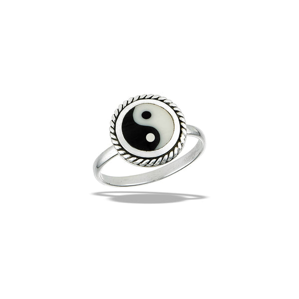 Enamel Yin Yang Ring | Sterling Silver Size 6 7 8 9 10 | Light Years