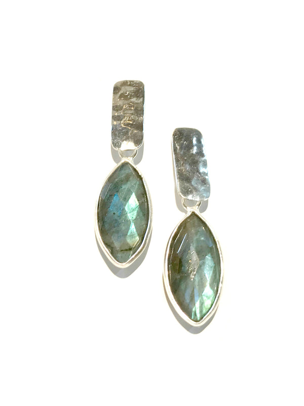 Labradorite Hammered Bar Post Earrings | Sterling Silver | Light Years