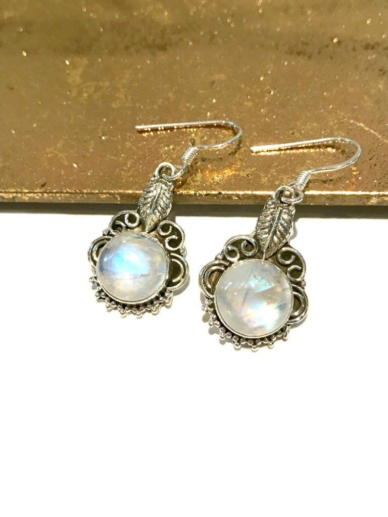 Leaf Filigree Moonstone Dangles | Sterling Silver Earrings | Light Years