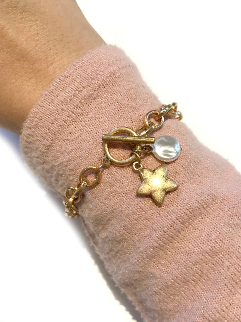 Star & Pearl Chain Link Bracelet | Gold Fashion | Light Years Jewelry