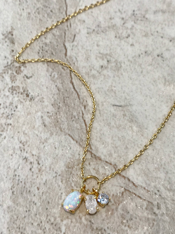 White Opal & CZ Cluster Necklace | Silver Gold Plated Chain | Light Years