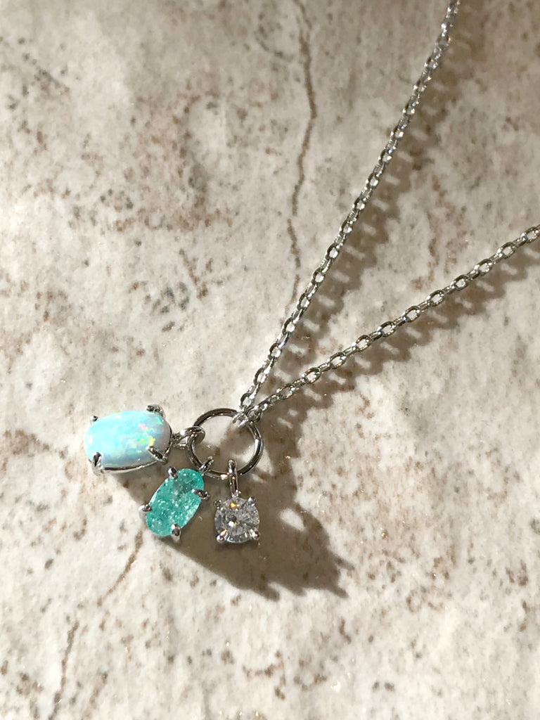Blue Opal & CZ Cluster Necklace | Silver Gold Plated Chain | Light Years