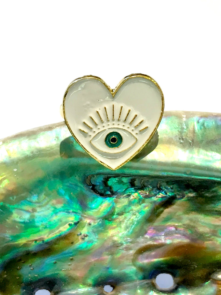 Eye in Heart Adjustable Ring | Gold Fashion Band | Light Years Jewelry