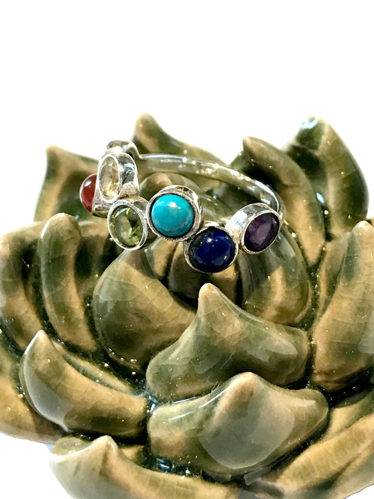 Rainbow Chakra Gemstone Ring | Size 6 7 8 9 Sterling Silver | Light Years
