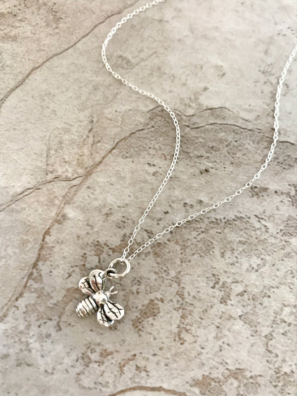 Angled Honey Bee Necklace | Sterling Silver Pendant Chain | Light Years