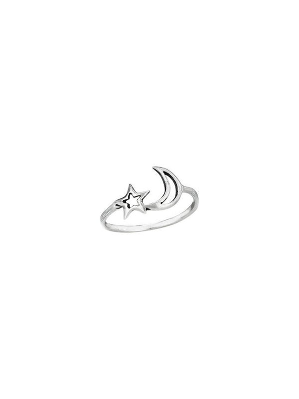 Cutout Moon & Star Ring | Size 5 6 7 8 9 Sterling Silver | Light Years