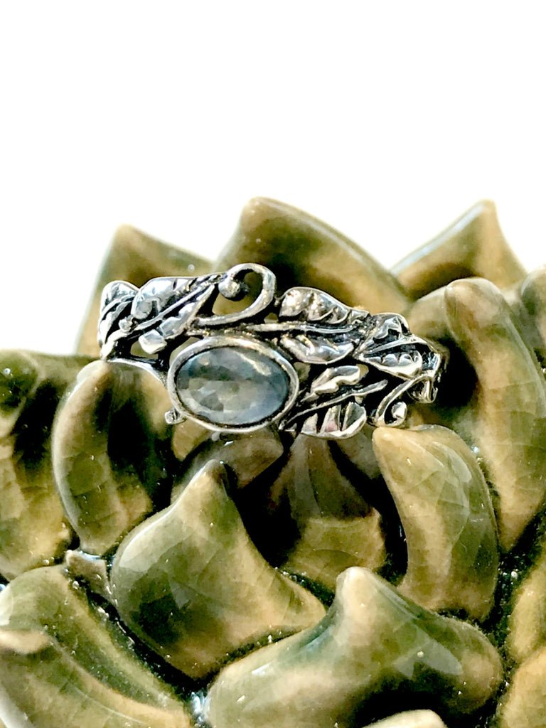 Leafy Vine Apatite Ring | Size 9 Sterling Silver | Light Years Jewelry