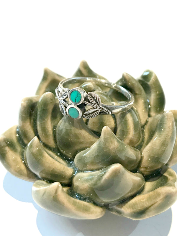Double Turquoise Leaves Ring | Sterling Silver Size 6 7 8 9 | Light Years