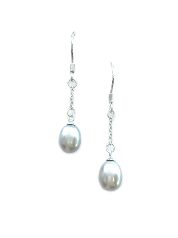Gray Pearl Drop Earrings | Sterling Silver Dangles | Light Years Jewelry