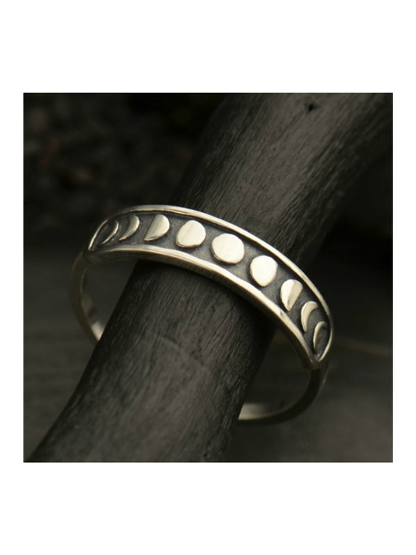 Moon Phase Band Ring | Sterling Silver Size 6 7 8 9 | Light Years Jewelry