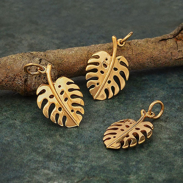 Bronze Monstera Leaf Necklace | Gold Vermeil Chain Pendant | Light Years