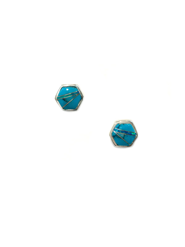 Gemstone Hexagon Posts | Sterling Silver Studs Earrings | Light Years