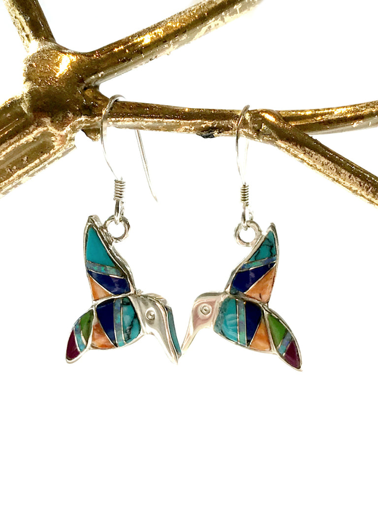 Gemstone Hummingbird Dangles | Sterling Silver Earrings | Light Years