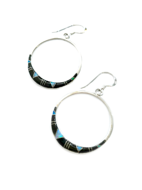 Onyx & Opal Inlay Hoop Earrings | Sterling Silver Dangles | Light Years Jewelry