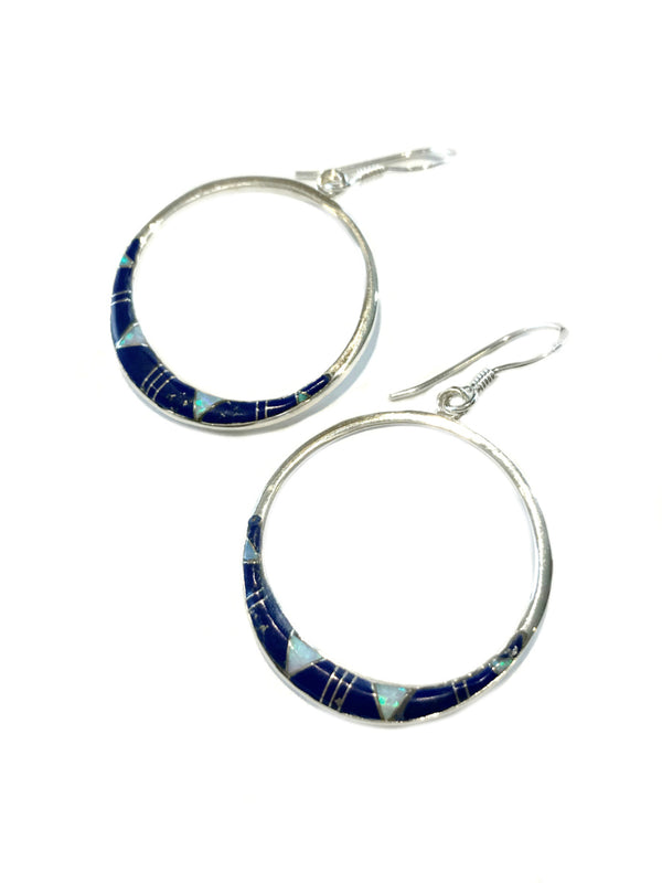Lapis & Opal Inlay Hoop Earrings | Sterling Silver Dangles | Light Years Jewelry