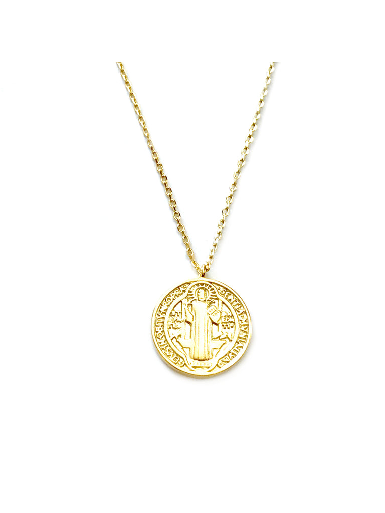 St. Benedict Medal Necklace | Gold Plated Chain Pendant | Light Years