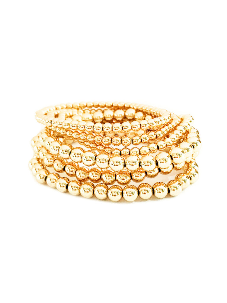 Ball Beaded Stretch Bracelet Set | Gold Plated | Light Years Jewelry