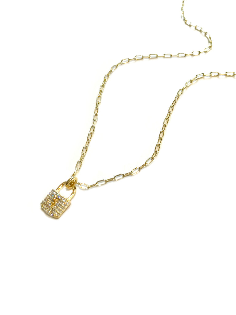CZ Padlock Charm Necklace | Gold Plated Pendant Chain | Light Years
