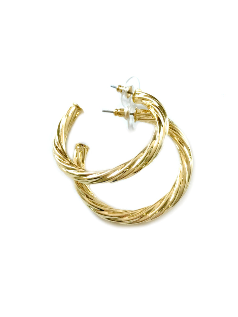 Thick Twisted Hoops | Gold Plated Posts Studs Earrings | Light Years