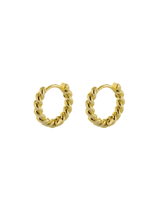 Small Twisted Huggie Hoops | Gold Plated Earrings | Light Years Jewelry