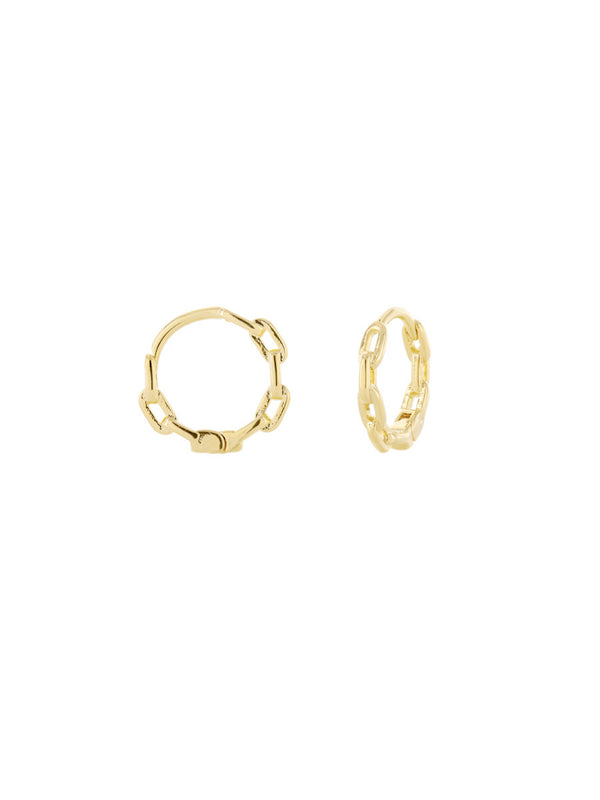 Dainty Chain Link Huggie Hoops | Gold Plated Earrings | Light Years