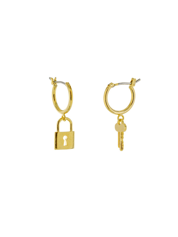 Lock & Key Charm Hoops | Gold Plated Earrings | Light Years Jewelry