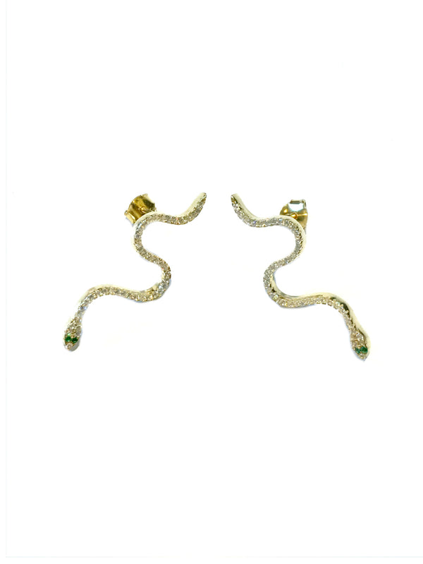 Green Eyed CZ Snake Posts | Gold Vermeil Studs Earrings | Light Years