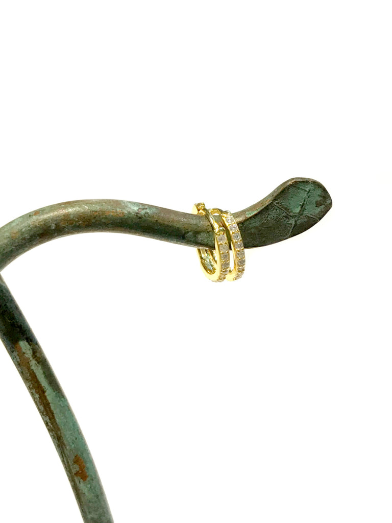 CZ Lined Huggie Hoops | 14k gold Vermeil Earrings | Light Years Jewelry
