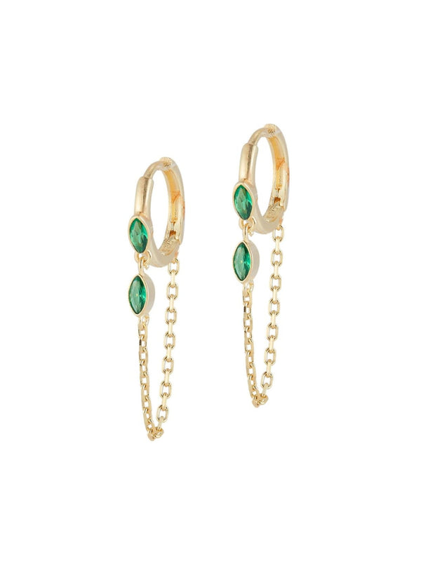 Emerald CZ Chain Loop Huggie Hoops | Gold Vermeil Earrings | Light Years
