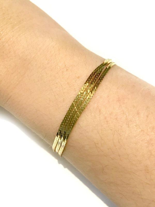 Three Row Herringbone Chain Bracelet | 14kt Gold Vermeil | Light Years