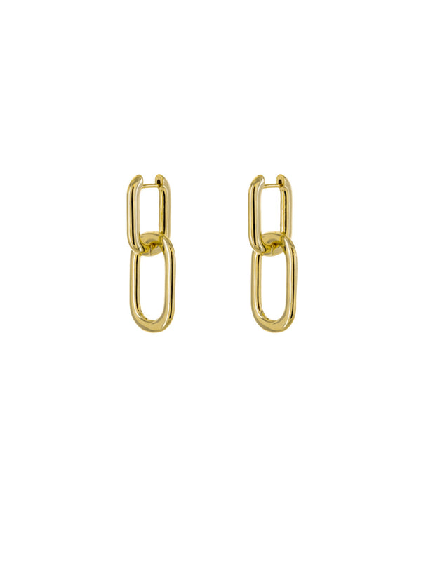 Thick Linked Huggie Hoops | Gold Plated Statement Earrings | Light Years
