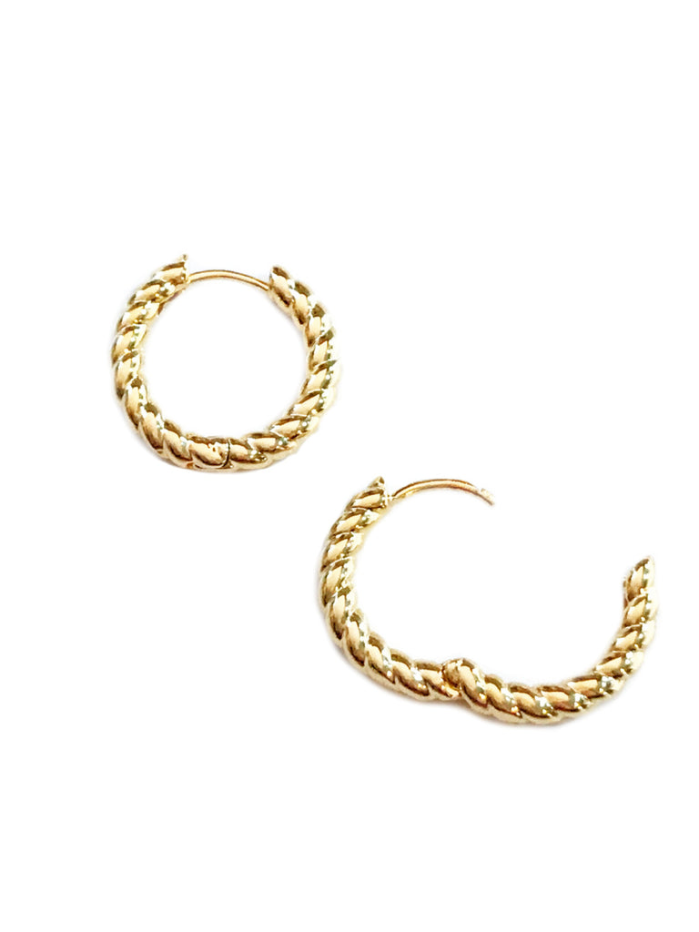 Twisted Huggie Hoops | Gold Plated Earrings | Light Years Jewelry