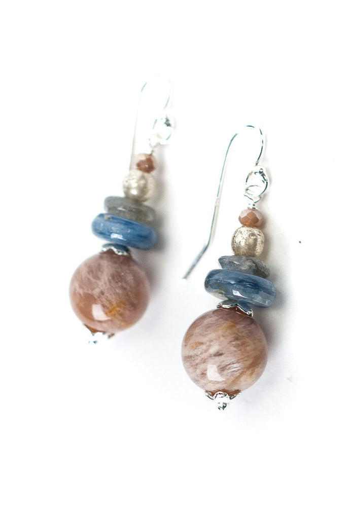 Peach Moonstone Earrings Anne Vaughan | Sterling Silver | Light Years
