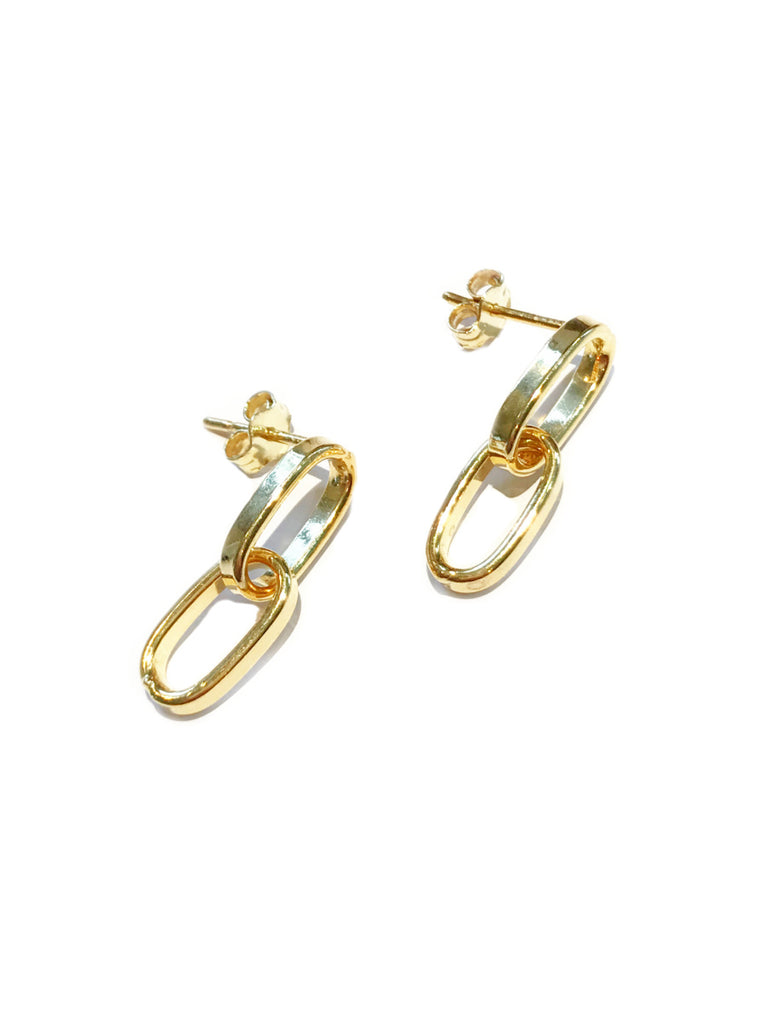 Oval Link Posts | 14k Gold Vermeil Chain Studs Earrings | Light Years