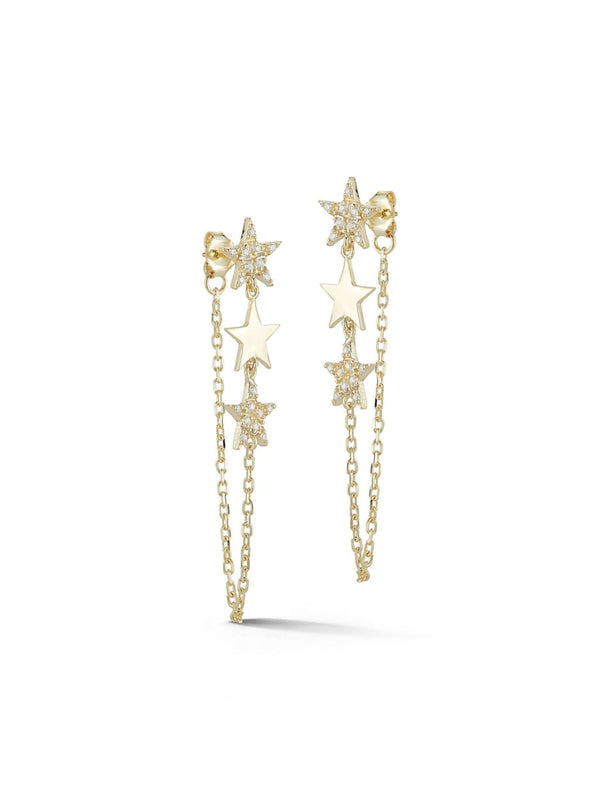 CZ Star & Chain Wrap Posts | Gold Vermeil Earrings | Light Years Jewelry