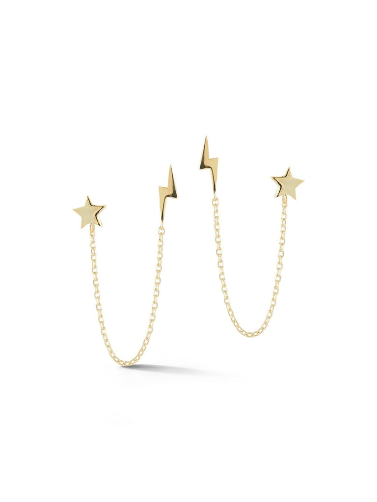Lightning Bolt & Star Double Posts | Gold Vermeil Studs Earrings | Light Years