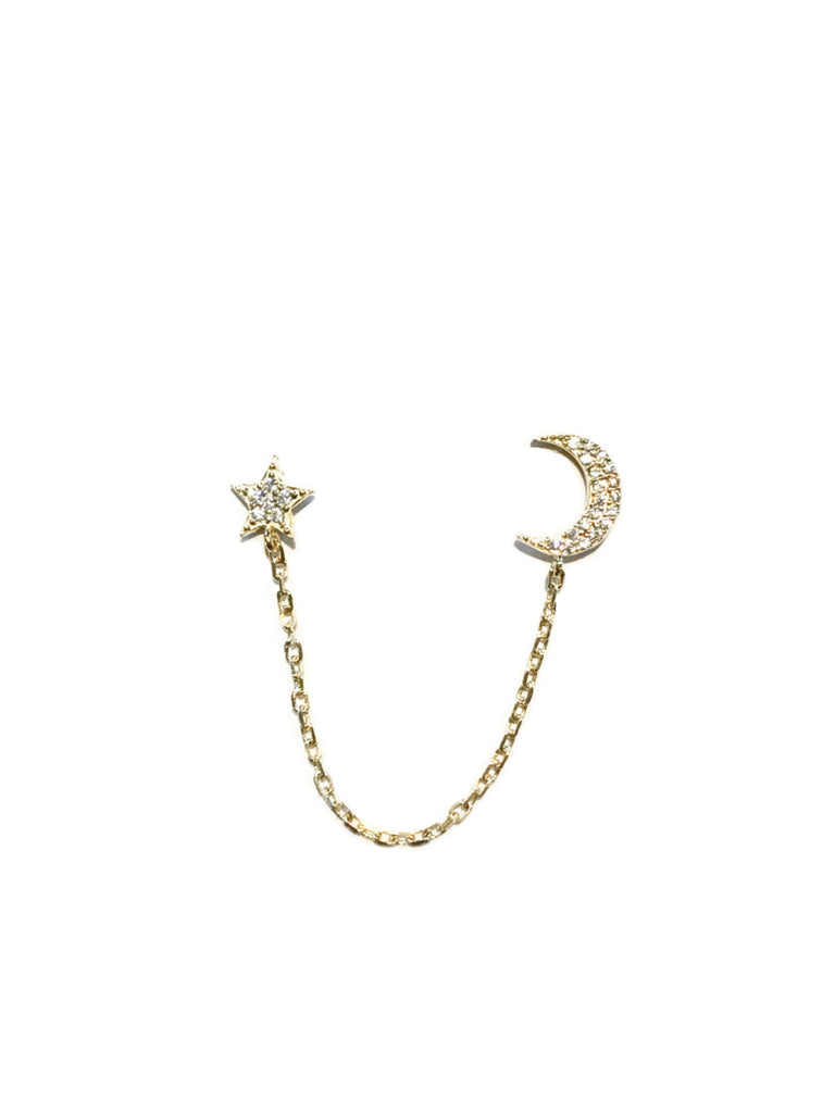 Moon & Star Double Posts | Gold Vermeil CZ Studs Earrings | Light Years