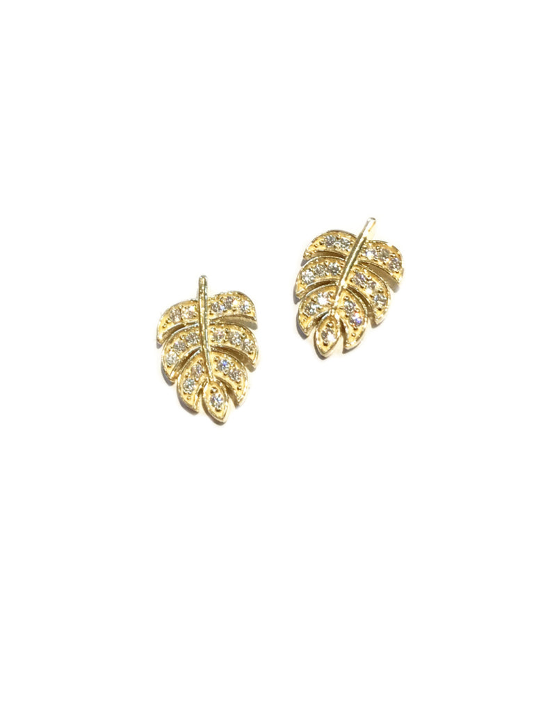 CZ Monstera Leaf Posts | Gold Vermeil Studs Earrings | Light Years Jewelry