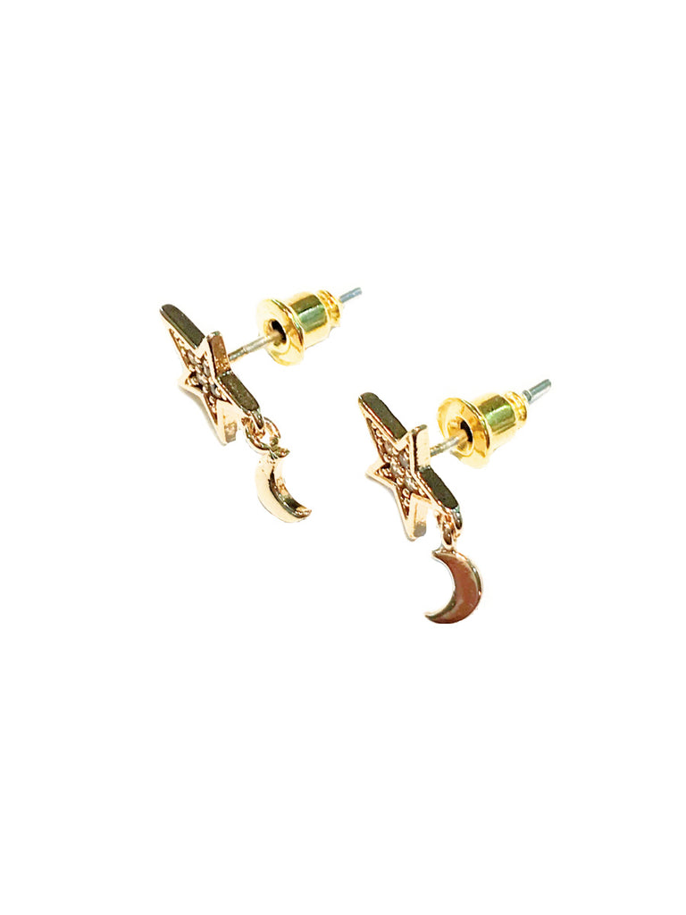 CZ Star & Moon Charm Posts | Gold Plated Studs Earrings | Light Years