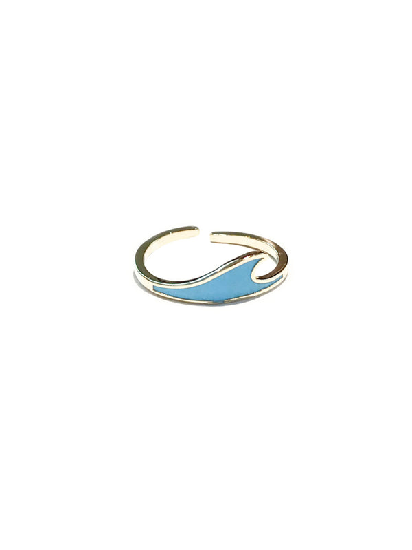 Blue Enamel Wave Ring | Size 7 Gold Adjustable Band | Light Years Jewelry