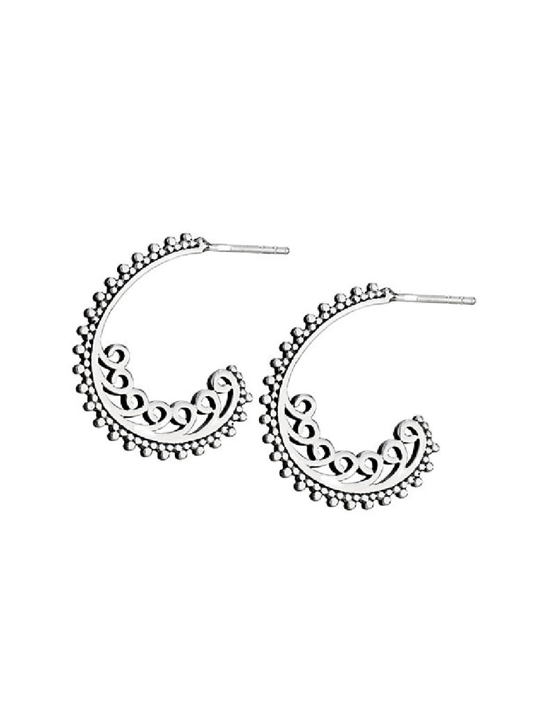Ornate Swirled Post Hoops | Sterling Silver Earrings | Light Years