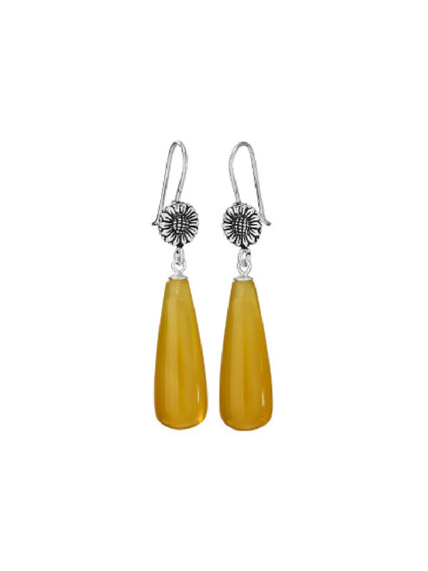 Honey Jade Flower Drop Dangles | Sterling Silver Earrings | Light Years