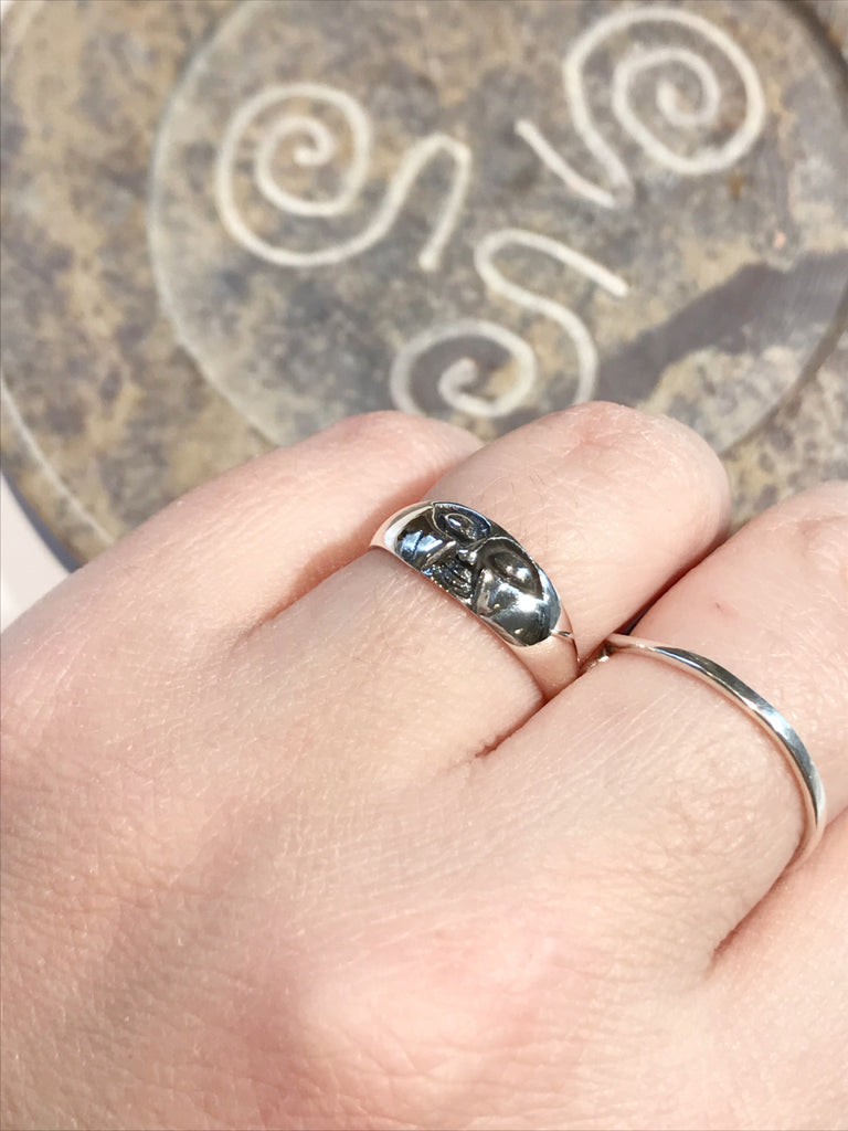 Etched Moon Face Band Ring | Sterling Silver Sizes 7 8 9 | Light Years