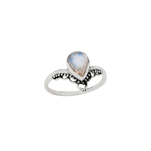 Ornate Moonstone Chevron Ring | Sterling Silver Size 6 8 | Light Years
