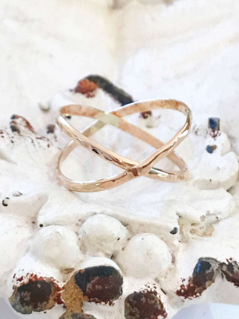 Hammered X Ring | 14kt Gold Filled USA Sizes 6 7 8 9 | Light Years
