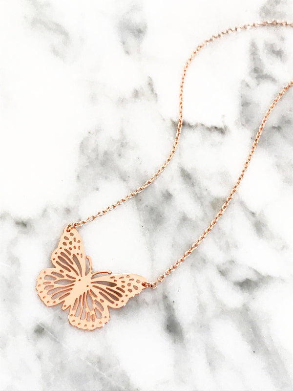 Cutout Butterfly Necklace | Rose Gold Trendy Summer Chain | Light Years